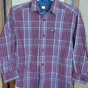 Tommy Hilfiger boys button down plaid shirt 6